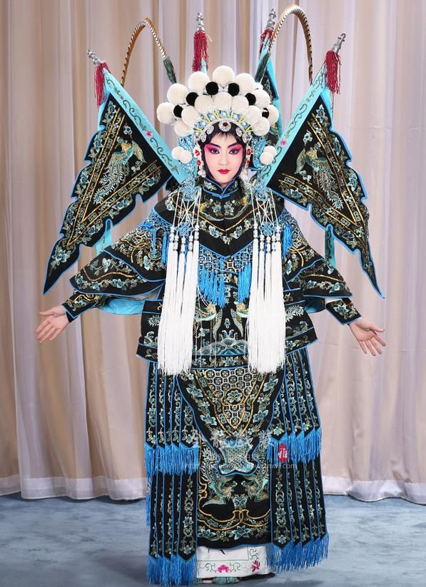e4a4520ba Traditional Chinese Beijing Opera Magic Warriors Black Mu Guiying Clothing  and Shoes Complete Set, China Peking Opera Blues Costume Embroidered Robe  Opera ...