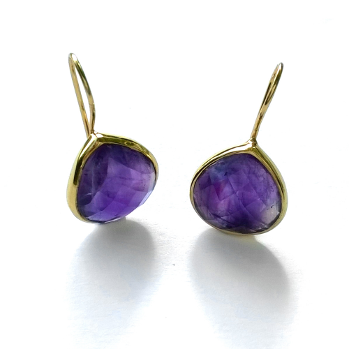 Shiny 18mm Amethyst gemstones set in 18ct gold vermeil earrings
