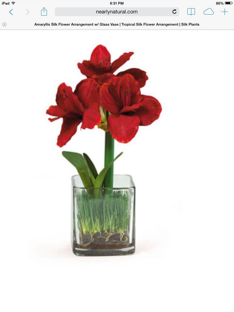 Amaryllis flower pinterest gardens amaryllis silk flower arrangement with glass vase mightylinksfo