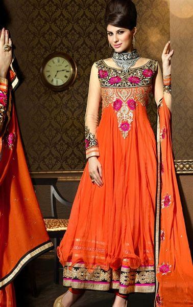 Picture of Beautiful Deep Orange and Tomato Color Designer Wedding Salwar Kameez