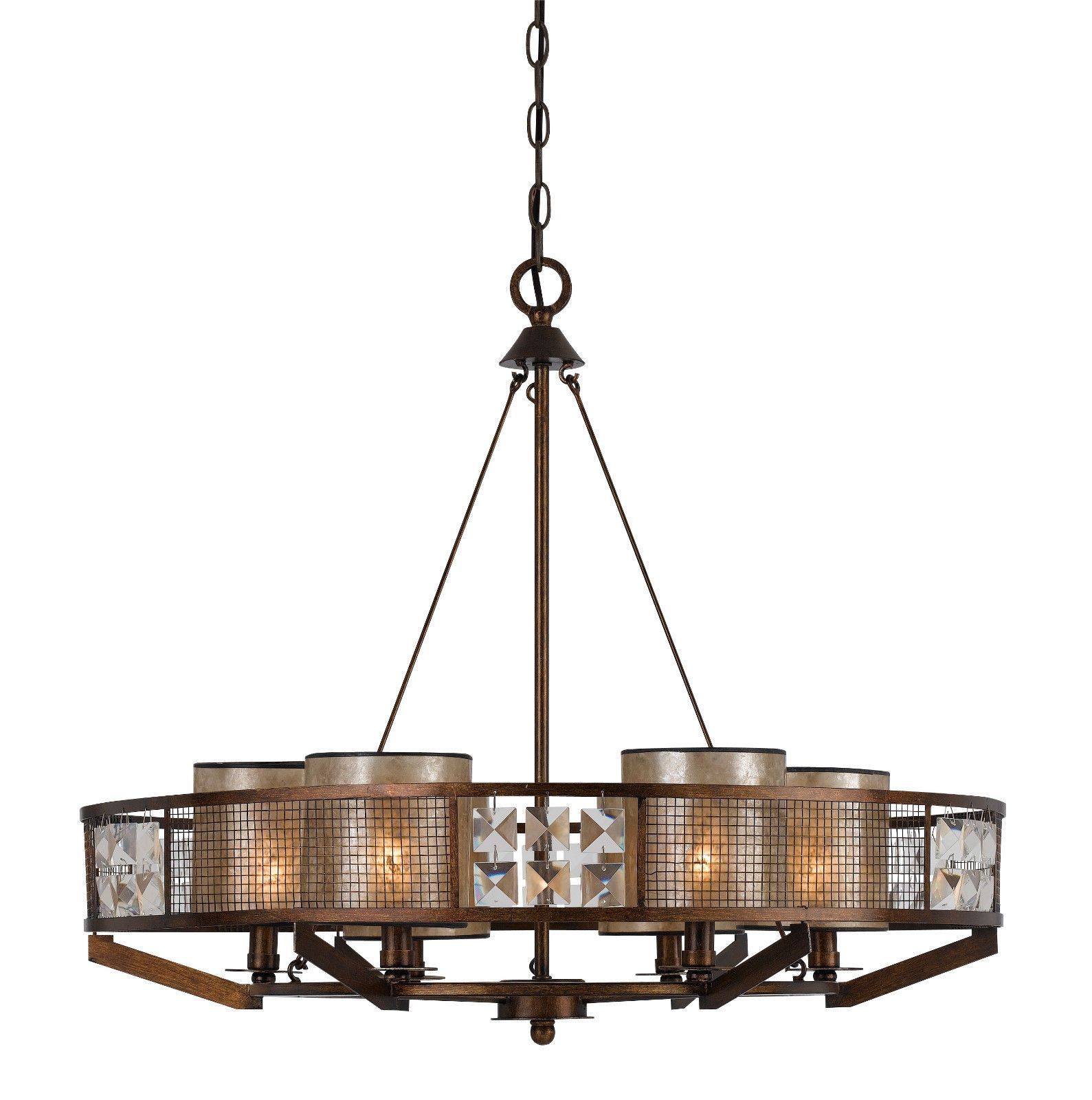 Iron Wood Crystal Chandelier Mica Shades 28 Wx25 H Iron Chandeliers Cal Lighting Chandelier Shades