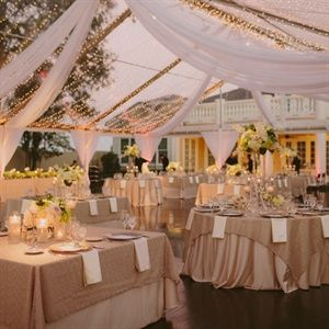 Like This But With Ivory Tablecloths And Peach Napkins Love The Lights D Fabric