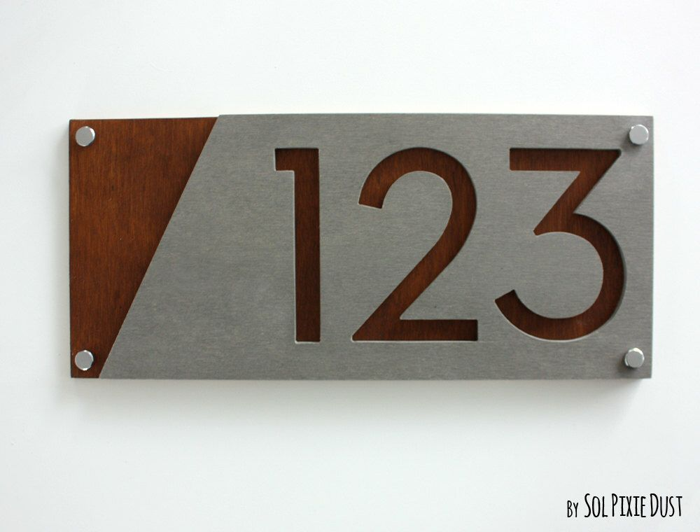 Modern House Numbers Concrete With Marine Plywood Etsy Modern House Number House Address Sign House Numbers