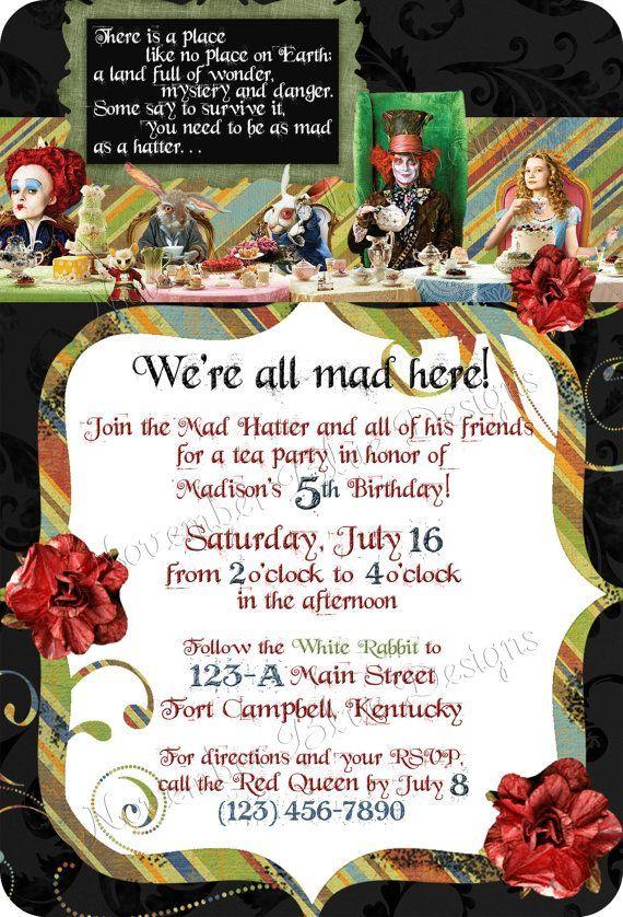 Tim Burton S Alice In Wonderland Custom Birthday Sweet Six Invitation Digital File You Print Or I