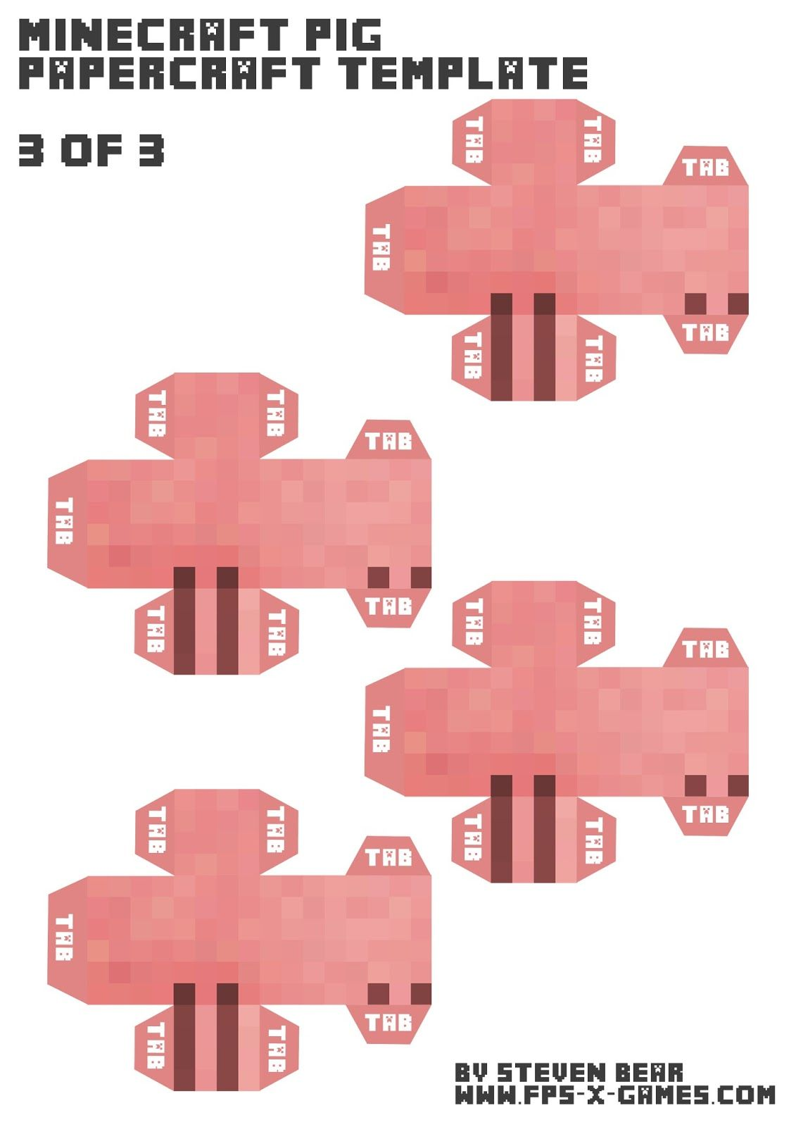 Free Minecraft Pig Paper Model Template Fpsxgames Minecraft Pig Papercraft Templates Paper Crafts