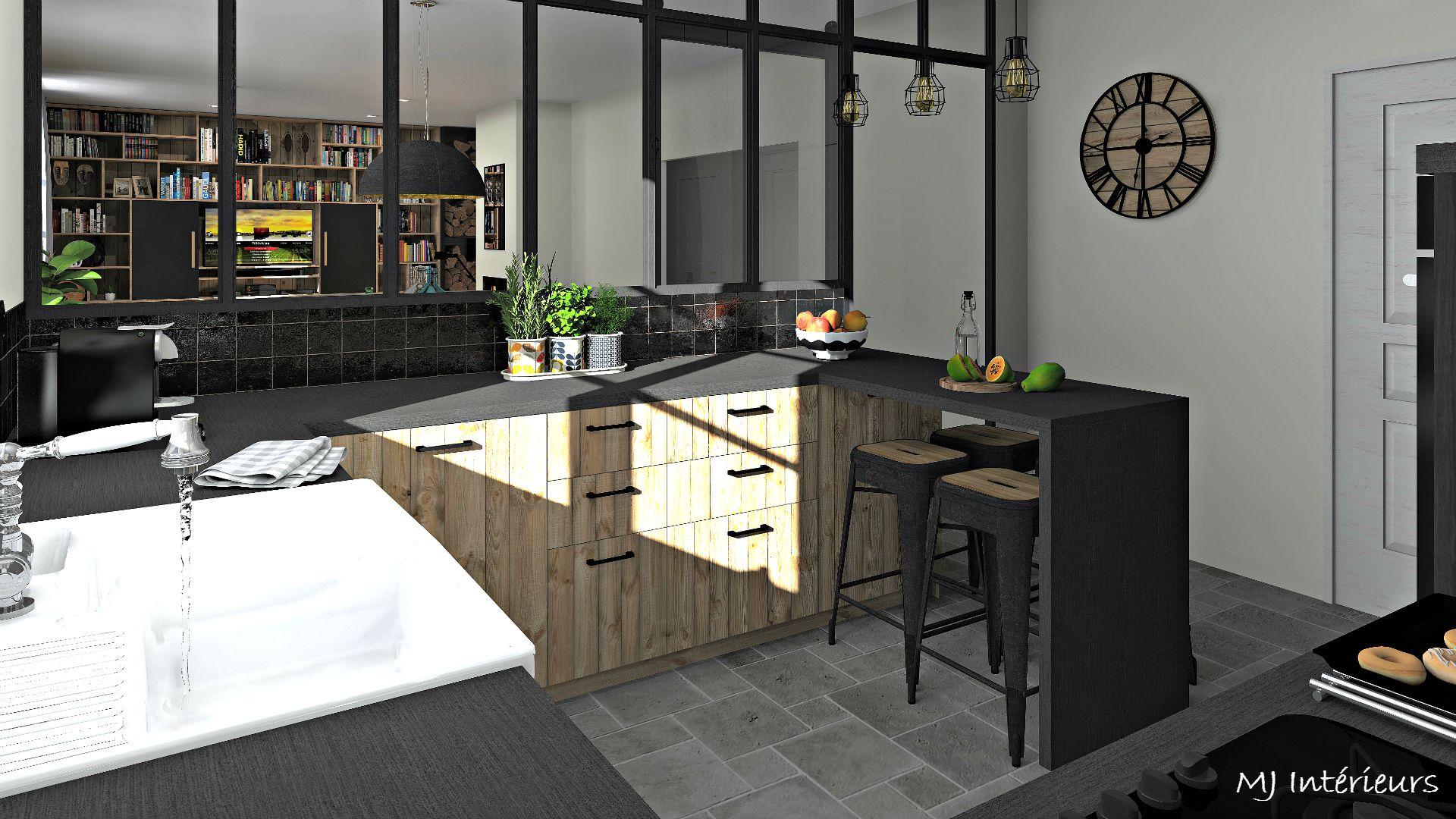 Cuisine style industriel et rustique avec verrière atelier