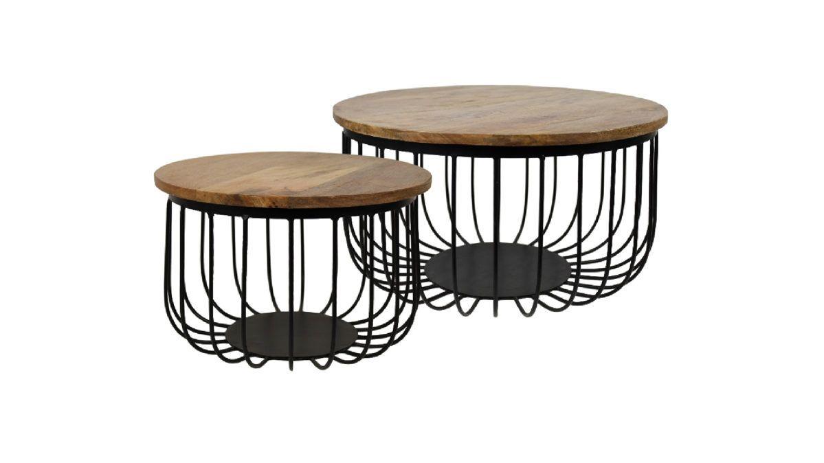 Couchtisch Set Maden Mangoholz Schwarzes Eisen Zweiteilig Durchmesser Ca 60 Cm Hohe Ca 33 Cm Und Durchmesser Ca 45 C Couchtisch Set Tisch Couchtisch