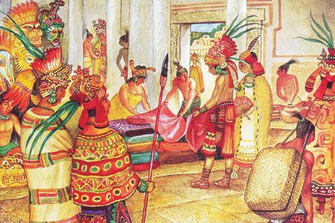 Actividad comercial entre los mayas / Ilustración: Leonid Nepomniachi
