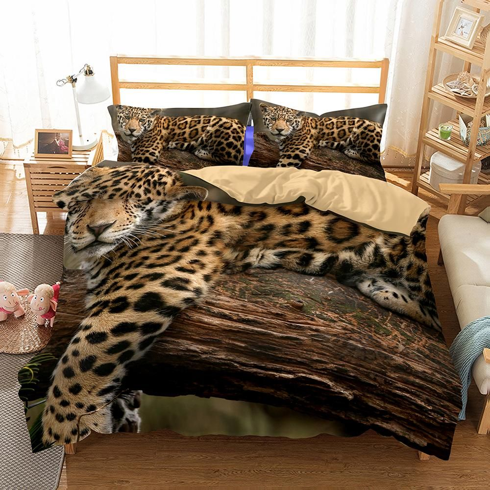 3D Tigers Bedding Comforter Sets Soft Tencel Cotton Mother/&Son Tigers 3 Pieces Full Szie Duvet Sets for Teen Kids Boys
