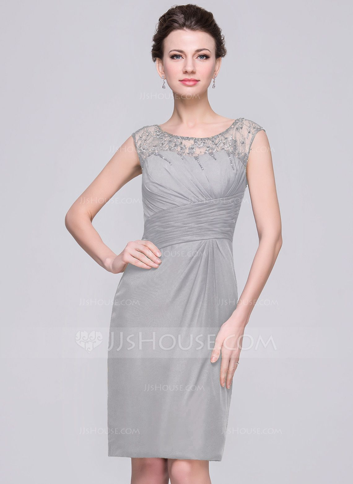 269e1120289 Sheath Column Scoop Neck Knee-Length Chiffon Mother of the Bride Dress With  Ruffle Lace Beading Sequins (008056833) - JJsHouse
