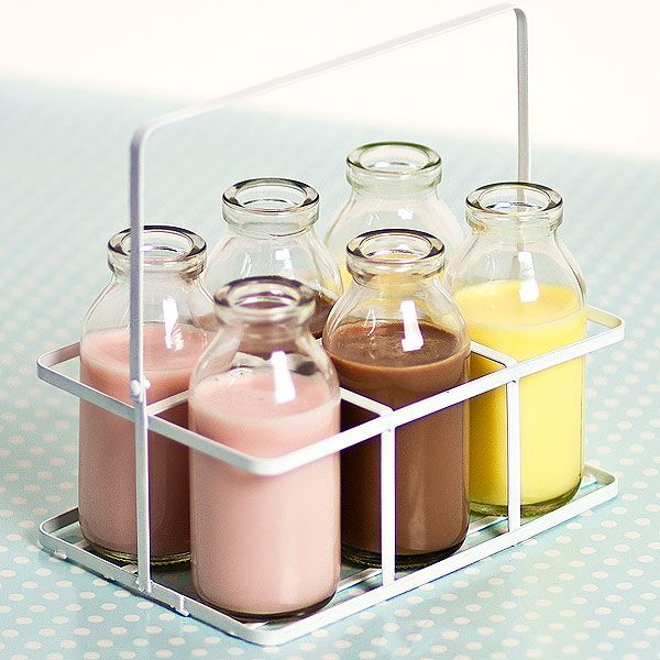 6 School Milk Bottles In Crate 3 5oz 100ml Mini Milk Bottles Milk Bottle Milk Bottle Holder