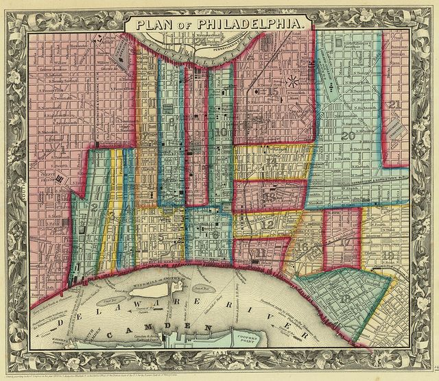 historic map of philadelphia Philadelphia Street Map 1860 Map Philadelphia Map Map Art historic map of philadelphia