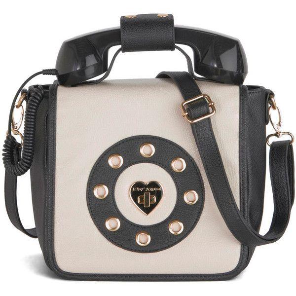 Betsey Johnson Collect Calls Bag (£58) via Polyvore featuring bags, handbags, shoulder bags, purses, telephone, vegan handbags, pink handbags, betsey johnson handbags, betsey johnson and pocket purse