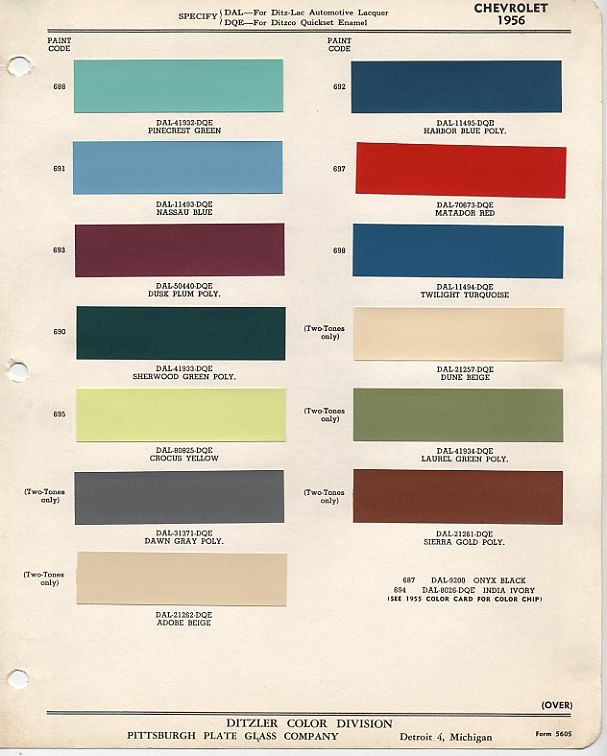 White Diamond Truck Color Code: 1956 Ford Interior Color Codes