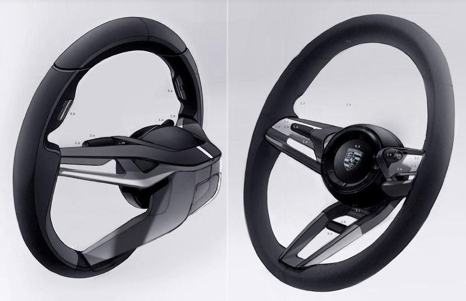 Porsche Mission E Steering Wheel Concept Car Interior Car Interior Sketch Automotive Design