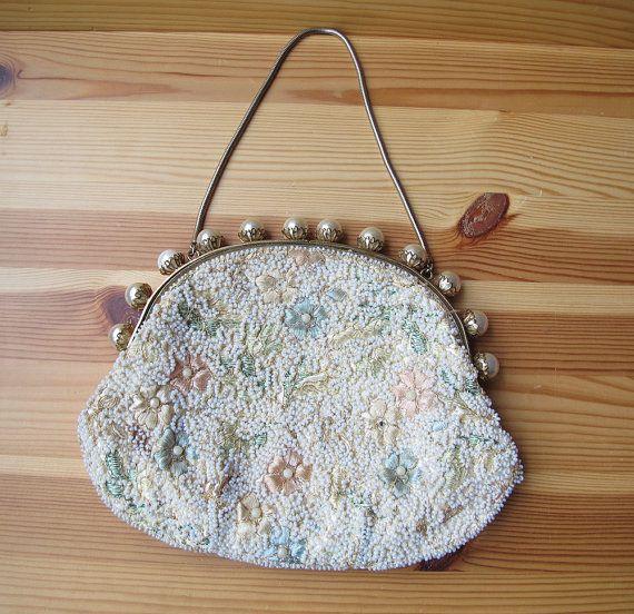 40s 50s Pearl Beaded Handbag with Embroidered by retrorocketgirl fe2679f9557f9
