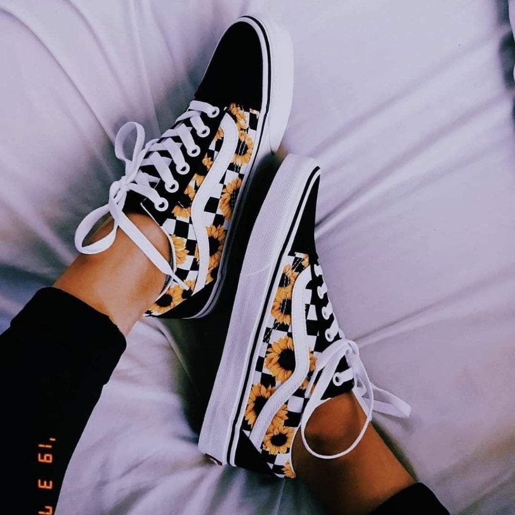Checkerboard Sunflower Old Skool | Custom vans shoes