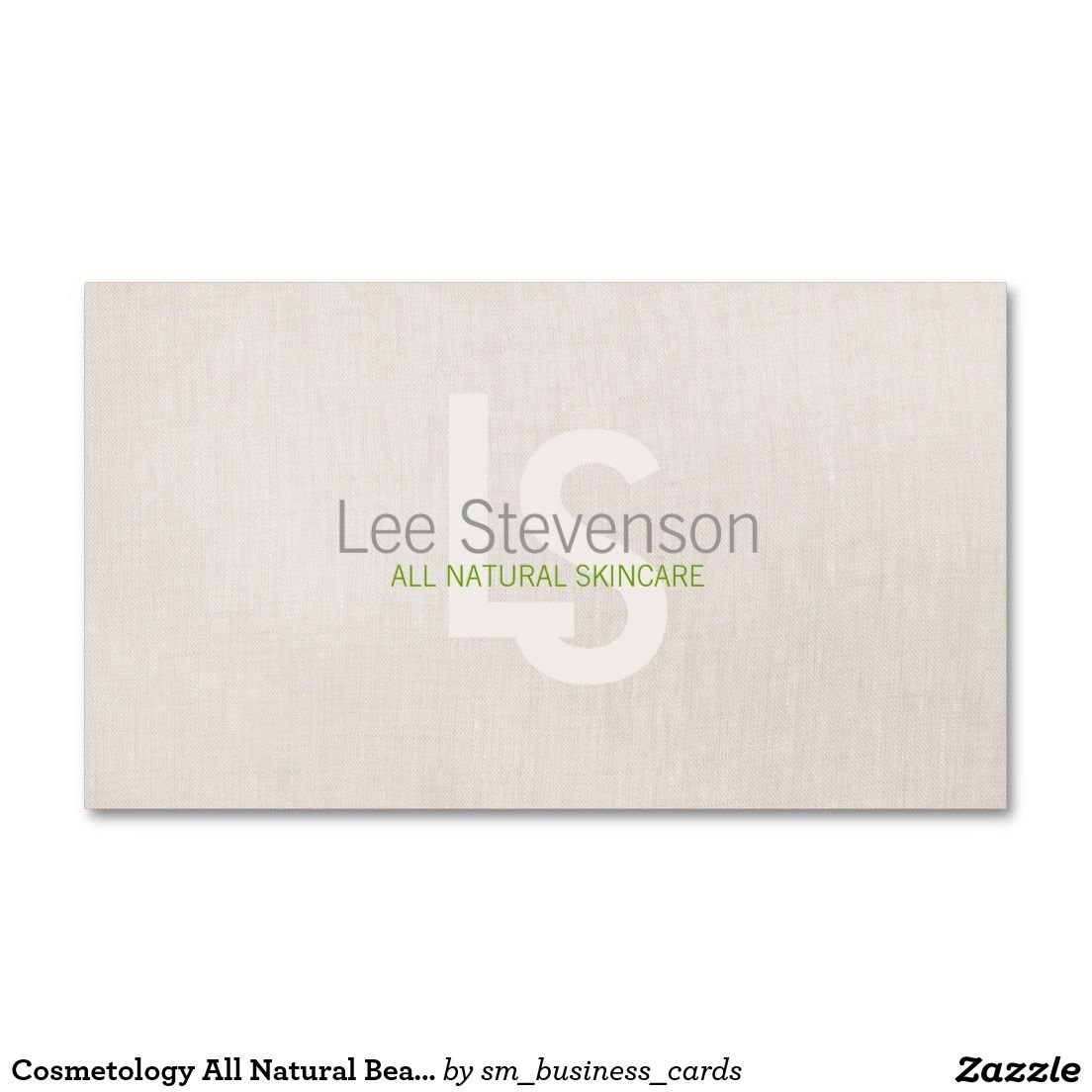 Cosmetology all natural beauty simple linen look business card reheart Image collections