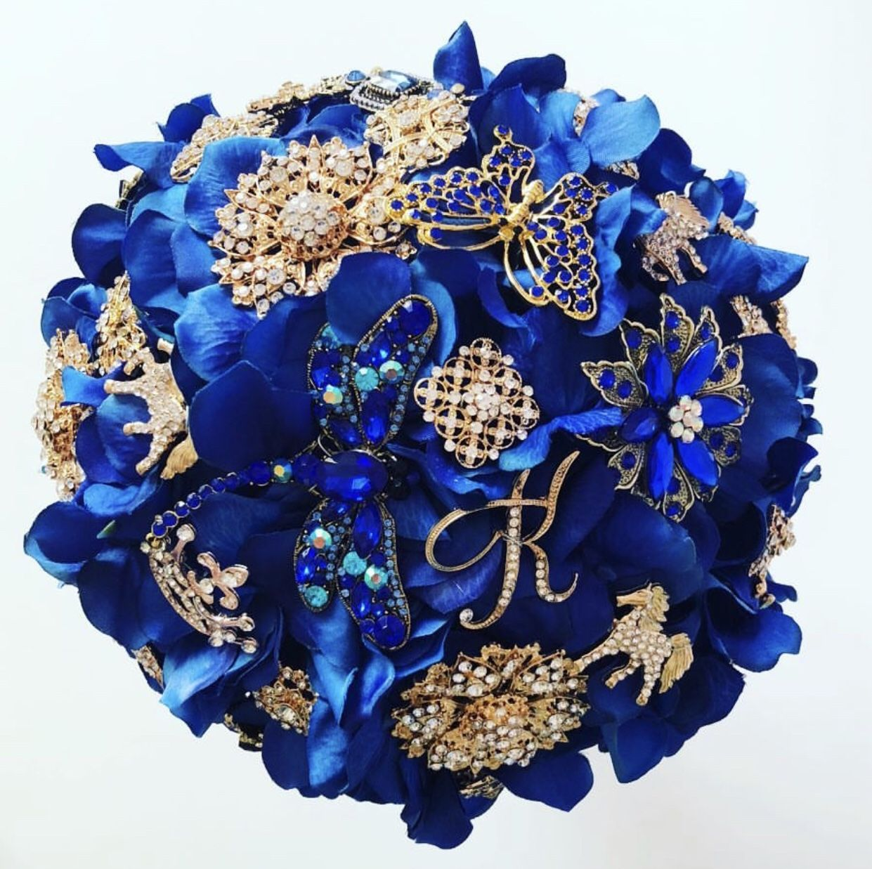 How Gorgeous Is This Royal Blue And Gold Wedding Bouquet Made Of