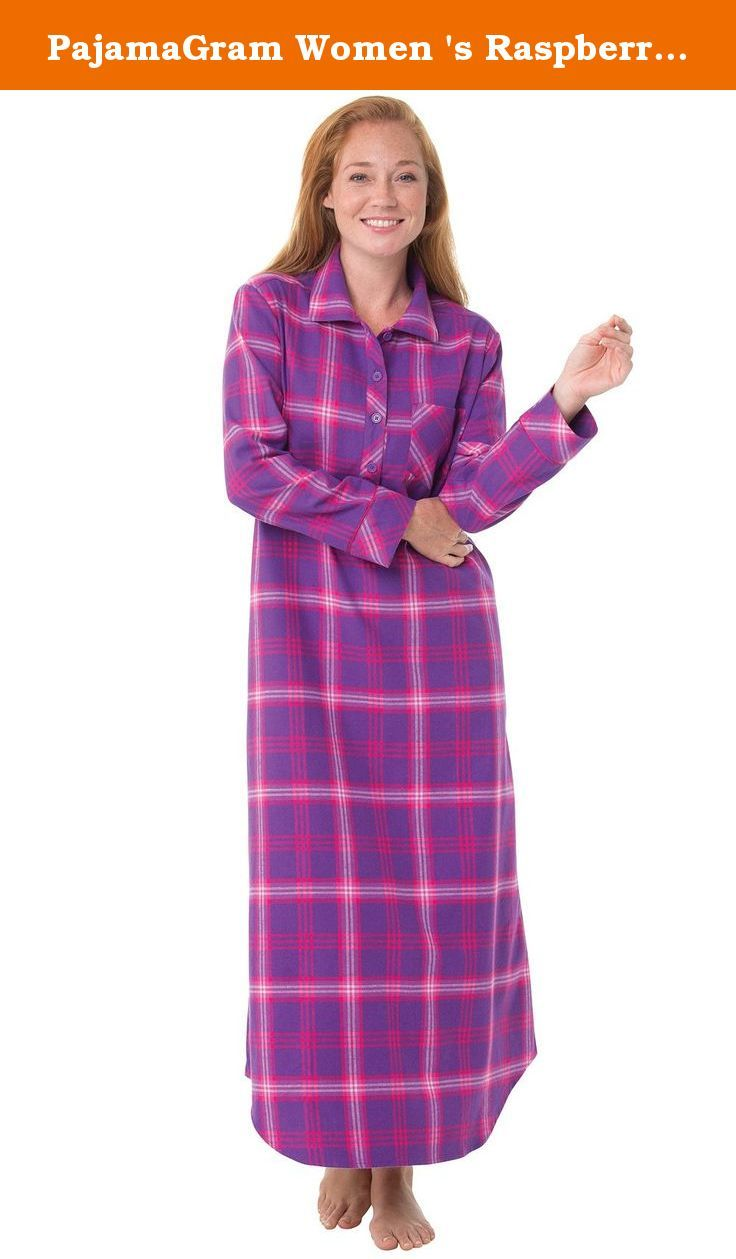 Red flannel nightgown  PajamaGram Women us Raspberry Plaid Flannel Nightgown Pink and