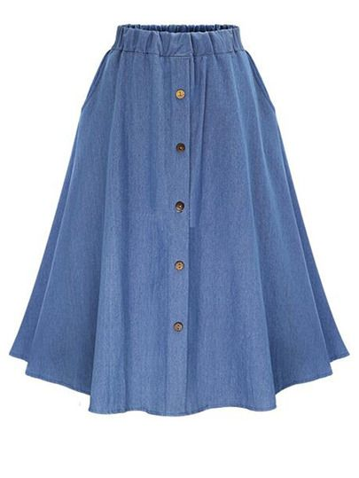 0df5511ec Elastic Waist Denim Flare Skirt With Buttons | COSER - Faldas | High ...
