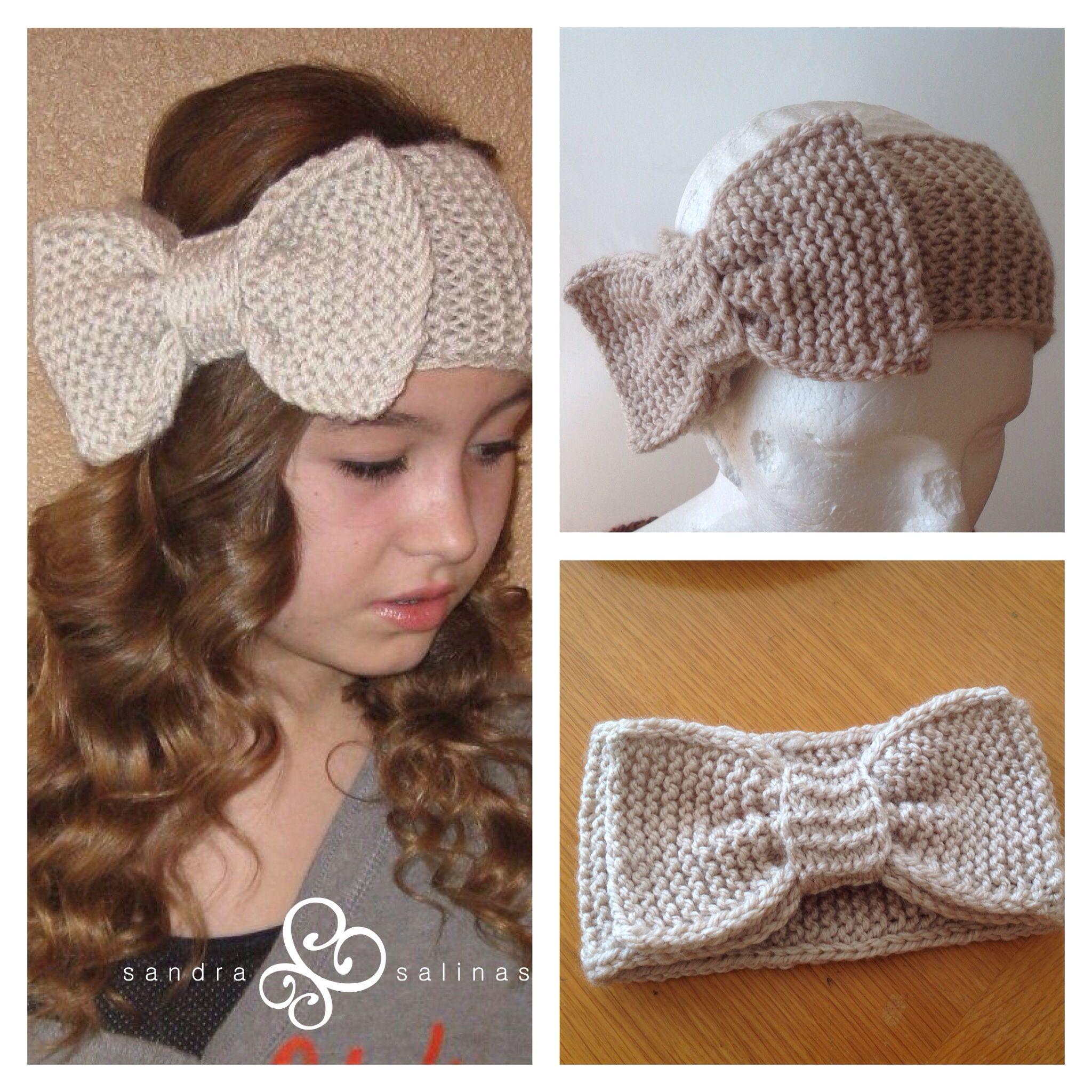 Diadema tejida con moño | vinchas crochet | Pinterest
