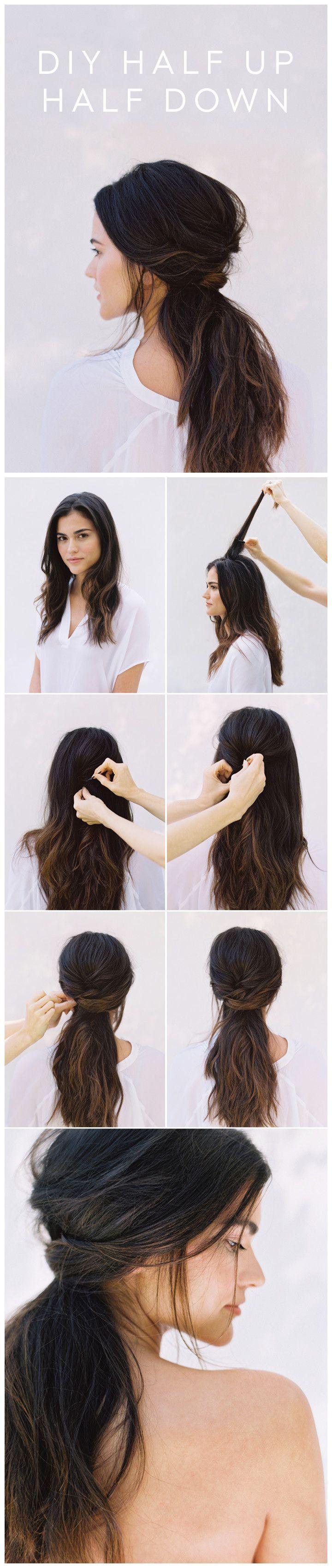 DIY HALF UP HALF DOWN HAIR   wedding   Pinterest   Hair style ...