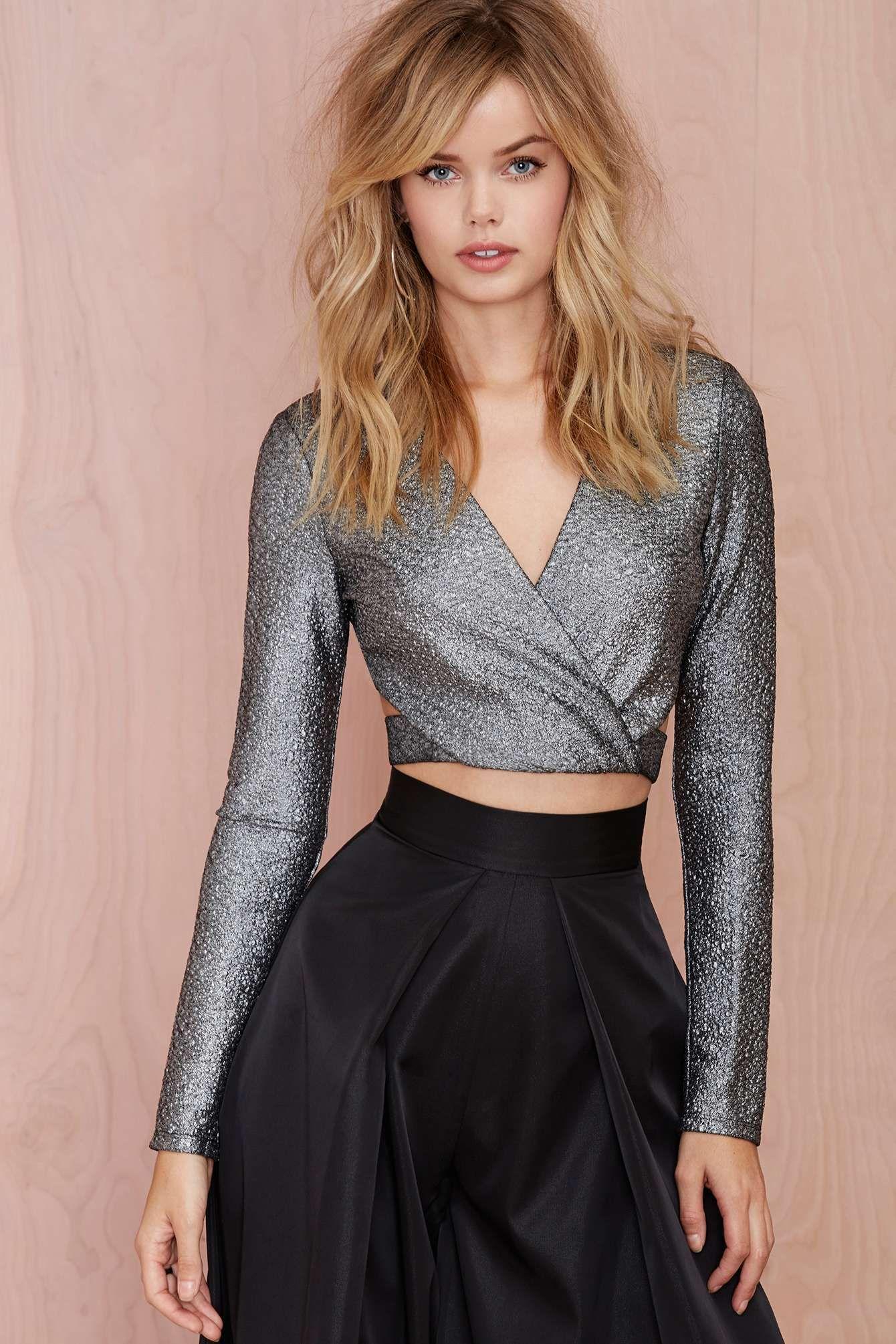Inferno lurex crop top fashion style trend lookbook