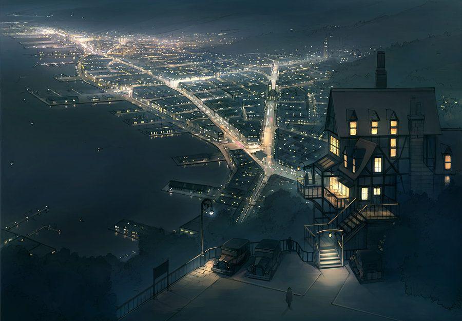 Night View From Hill By Guntama Deviantart Com Anime City Anime Scenery Scenery Wallpaper City anime scenery wallpaper