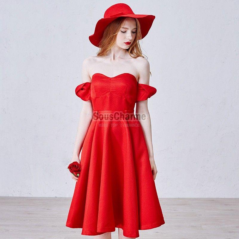 robe de cocktail originale style r tro en satin rouge avec. Black Bedroom Furniture Sets. Home Design Ideas