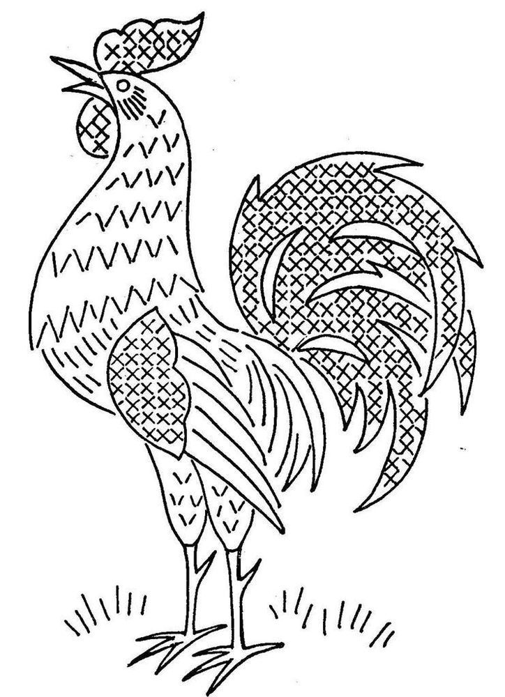 Hand Embroidery PATTERN 2438 Days of the Week Roosters Cross Stitch for Towels