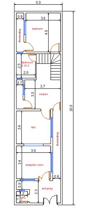 خريطة بناء 100م 5 20 جميلة Narrow House Plans House Map Family House Plans
