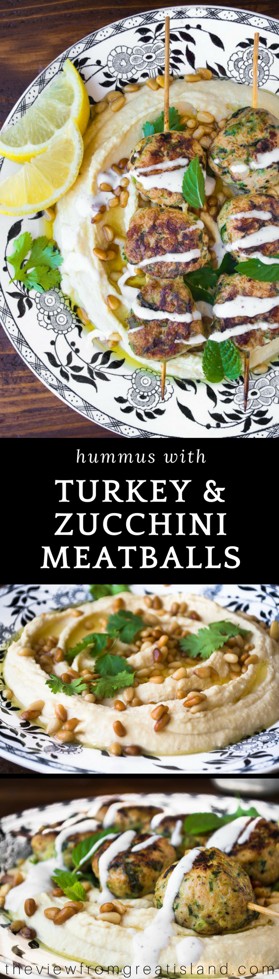 Hummus with Turkey & Zucchini Meatballs Hummus with Turkey & Zucchini Meatballs ~ I made a meal out of my favorite creamy hummus appetizer simply by topping it with tender turkey meatballs lightened up with zucchini.