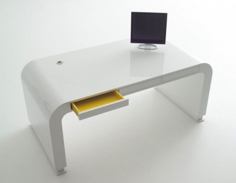 Decoration Modern White Shiny Curve Computer Desk Furniture With