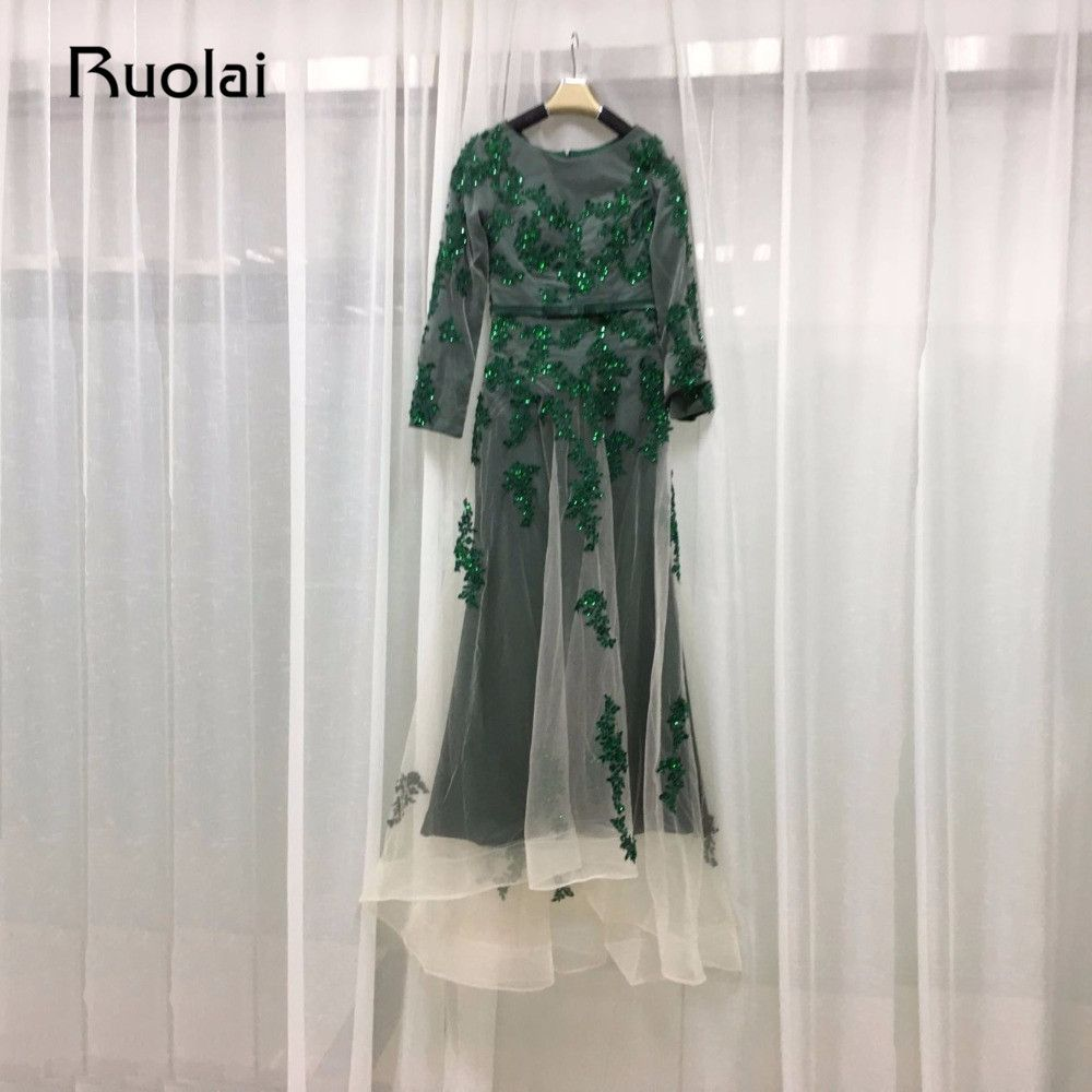 Click to buy ucuc real photo muslim evening dresses long sleeves green