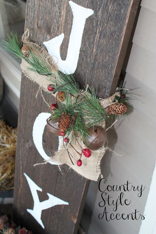 Christmas Rustic Joy Sign Could Make This With Barn Wood And Rusty Bells