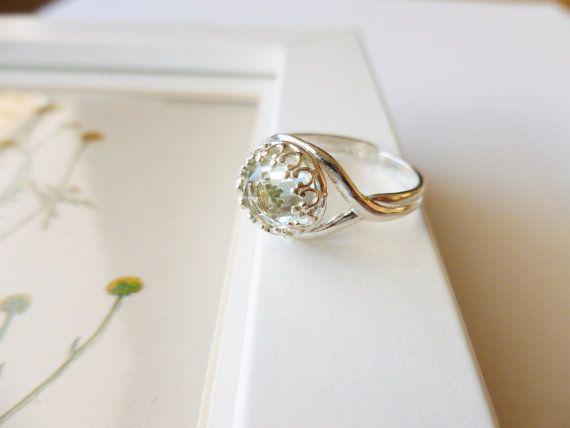 Green Amethyst Ring  Green Amethyst and Sterling by PoppyandGwyn