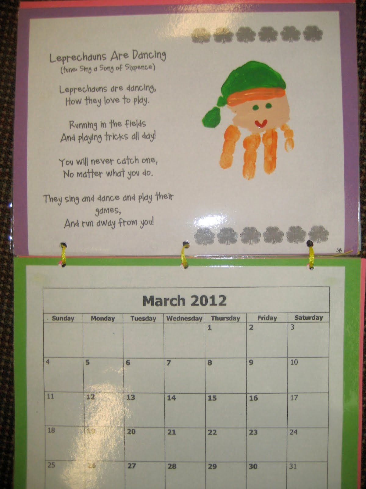 Calendar Craft For Kindergarten : Handprint poem it s a preschool party