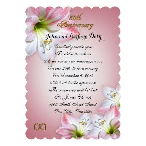50th Wedding Anniversary Vow Renewal Pink Amarylis
