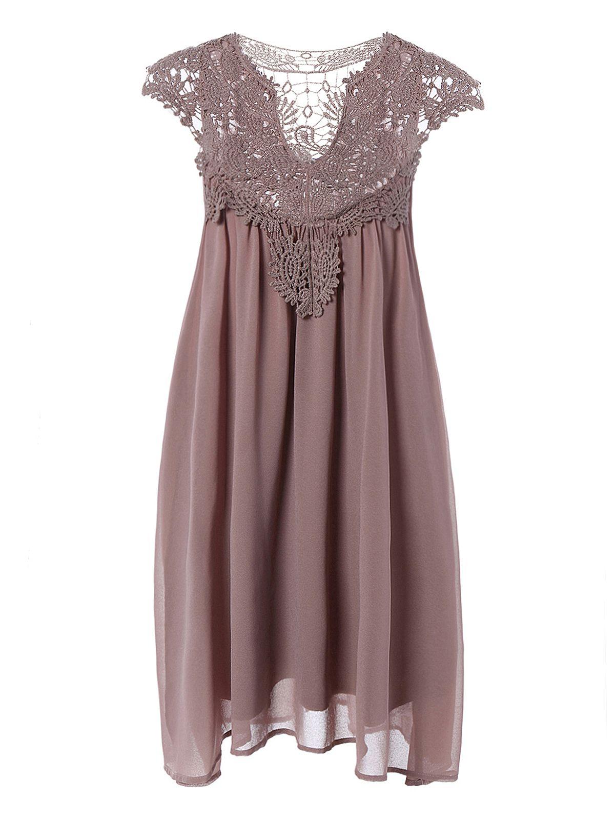 Crochet Panel Short Plus Size Shift Babydoll Dress Lace Chiffon