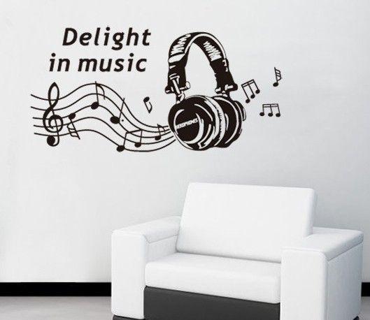 Music Theme Wall Decals Musical Notes Vinyl Stickers Headphones Recording Studio Decor Pegatinas De Pared Decoracion De Unas Vinilos