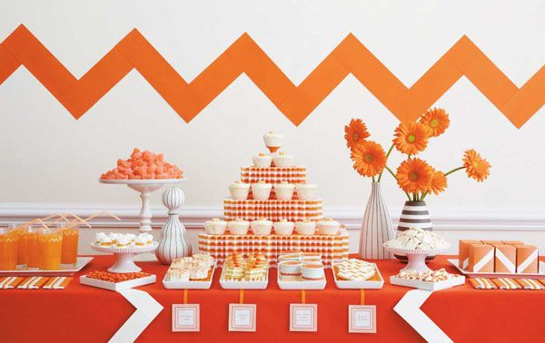 orange party table.  cute.