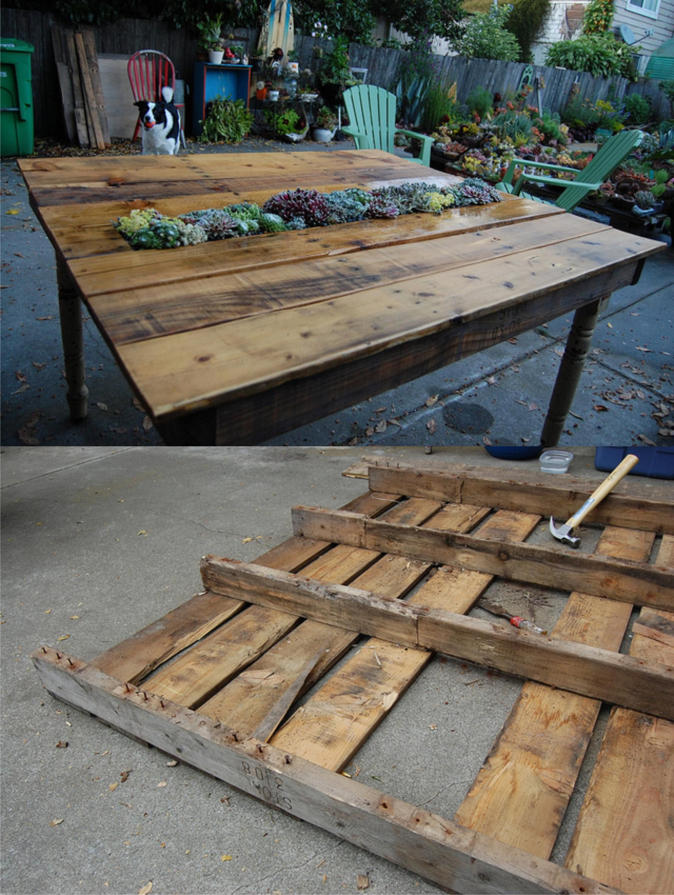 Mesa con peque o jard n hecha con un pal pallets diy for Palet jardin salon mesa