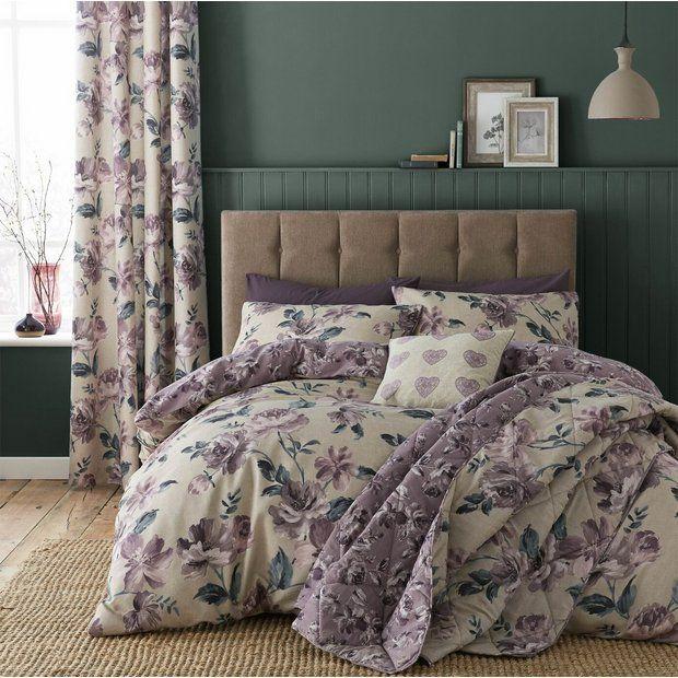 Buy Catherine Lansfield Painted Floral Plum Bedding Set Double Duvet Cover Sets Argos Floral Duvet Sets Plum Bedding Duvet Sets