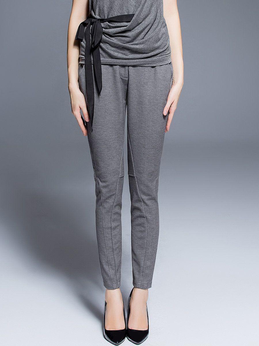 Light Gray Plain Work Polyester Buttoned Skinny Leg Pants - StyleWe.com
