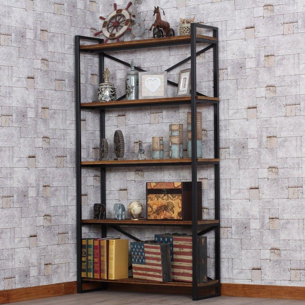 Loft Wood Wrought Iron Shelf Bookcase Creative