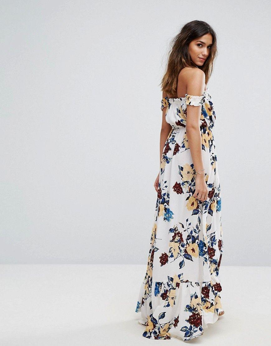 Boohoo floral print ruffle bardot maxi dress white fashion