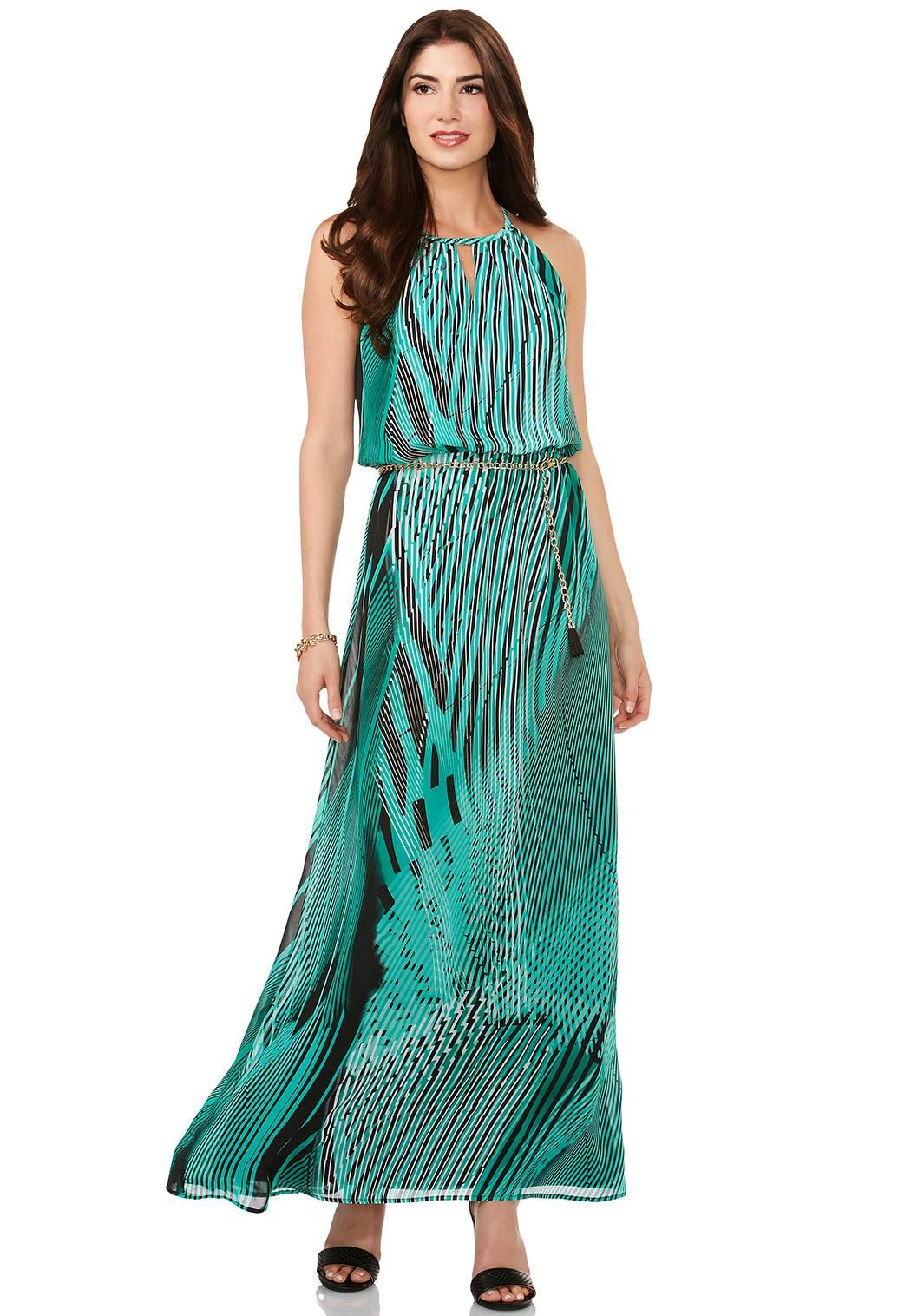 belted abstract palm maxi dress dresses cato fashions | cool