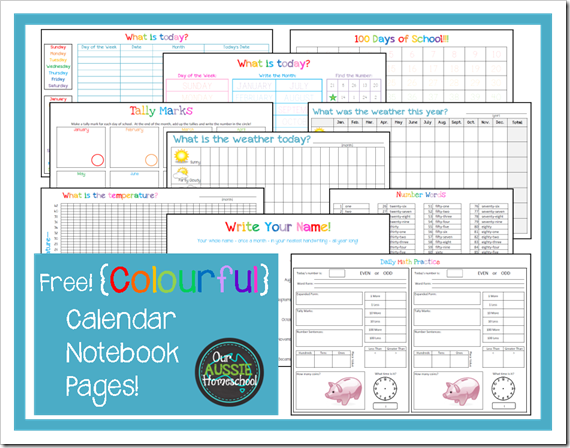 Free! Colourful Calendar Notebook Pages from Our Aussie Homeschool ...