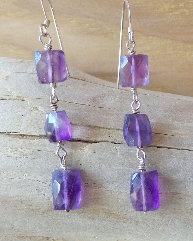 Amethyst Elegance Earrings, Sterling Silver Long Amethyst Earrings, Long Purple Gemstone Vegan Friendly Earrings, February Birthstone by WaterRhythmGems on Etsy
